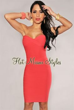 Coral Strapless Knee Length Bandage Dress