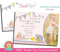 Rubber Duck Invitation Girls 1st Birthday by ForeverYourPrints