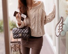 Cream jumper paired with grey leggings - perfect winter warmer