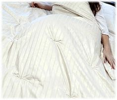 Natural Eco Wool Comforter with Orgnanic Striped Sateen Outer