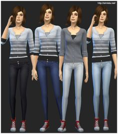 simista:  Today I have made some skinny jeans for your female Sims. I have dressed Judy in a cardigan and some canvas shoes for a comfortable casual look. These jeans are non-default and a standalone creation. I have made 4 colours for you to choose from. These are made using the underwear so be sure to clear the clothing flags so you can wear them for whatever category you like. Thanks to Orangemittens for the CAS pose. It can be found here. Download at Simista