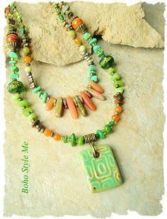 Bohemian Jewelry Chunky Natural Stone Layered Necklace