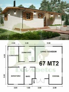 "3 BR, 1 bath, great room in a ""Minnimalist Casa"" 2 Bedroom House Plans, Dream House Plans, Small House Plans, House Floor Plans, Tiny House Cabin, Cozy House, House Blueprints, Home Design Plans, House Layouts"