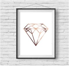 Faux Rose Gold Print Faux Copper Wall Art Geometric Diamond