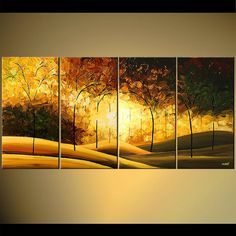 "Texture Landscape Painting 60"" Blooming Trees Forest Acrylic Painting by Osnat - MADE-TO-ORDER"