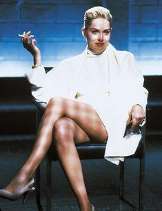 Sharon Stone Lifts Dress BW POSTER