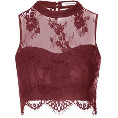 Burgundy Sheer Lace Scallop Hem Crop Top (€30) ❤ liked on Polyvore featuring tops, red, eyelet top, red top, sheer lace crop top, high neck crop top and tube top