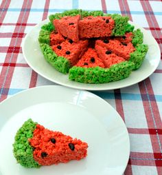 Watermelon Rice Krispies Treats - fun snack for my boys..need to find a way to make them healthier