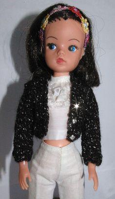 Black & Silver Sindy, Patch DOLLS short knitted cardigan fit Tammy Tressy Barbie