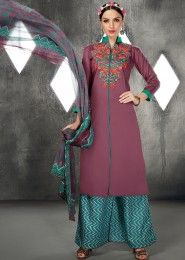 Casual Wear Violet Cotton Embroidered Work Plazzo