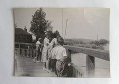 1950s B/W Photograph. Marsh Lock, Henley (Oxfordshire). Children Fishing/ Woman   eBay