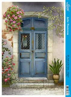 Mediterranean Paintings, Tyni House, Flower Art Drawing, Log Home Interiors, Door Picture, Cool Doors, Cottage Art, Front Door Colors, House Painting