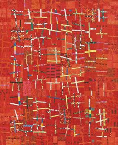 """Red Sticks"" by Freddy Moran.  A workshop at the 2014 AQS QuiltWeek® – Phoenix, Arizona"