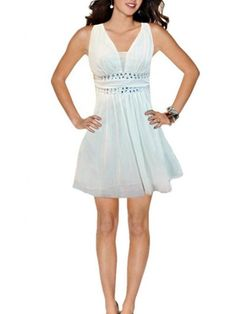 Soyagift Sleeveless Deep-v Neck Bling Rhinestone Empire Waist Party Dress