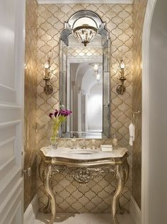 """""""View this Great Traditional Powder Room with Undermount Sink & Ceramic Tile. Discover & browse thousands of other home design ideas on Zillow Digs. Rich Home, Flush Lighting, Hallway Lighting, Elk Lighting, Beautiful Bathrooms, Small Bathrooms, Bathroom Interior Design, Interior Ideas, Design Firms"""