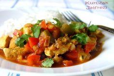 Przepis na Indyjską potrawę - Kurczak Jalfrezi Thai Red Curry, Chili, Ethnic Recipes, Indie, Food, Chile, Essen, Meals, Eten