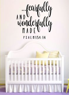 Fearfully and Wonderfully Made Quote Wall Decal Sticker Bedroom Art Vinyl Beautiful Religious Scripture Psalm God Bible Verses Nursery Baby Psalms Verses, Scriptures For Kids, Nursery Bible Verses, Bible Verse For Baby, Psalms Quotes, Scripture Quotes, Nursery Wall Decals, Wall Decal Sticker, Quote Wall Decals