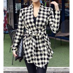 Wholesale Stylish Collarless Long Sleeve Plaid Special Cut Lace-Up Women's Coat Only $4.11 Drop Shipping | TrendsGal.com