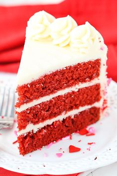 The Red Velvet Layer Cake – it's a classic! This version is super moist with just the right amount of tang! Plus, it's easy to make! I wanted to devour the whole cake on my own! Are you a sprinkle lover? I sure hope so, because this cake is literally covered in sprinkles! I bought …