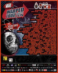 Warped tour 2010 Warped Tour Bands, Anti Flag, Kids Motor, Breathe Carolina, Alkaline Trio, Parkway Drive, We The Kings, Tour Posters, Big Fish