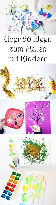 Kita 50 ideas for painting with children at school, at home, in kindergarten. - basteln - Welcome Crafts Home Crafts, Diy And Crafts, Craft Projects, Crafts For Kids, Arts And Crafts, Kids Corner, Preschool Learning, Creative Kids, Painting For Kids
