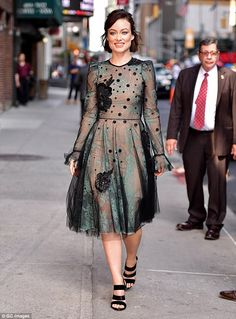 Strut: The movie star looked ravishing in an ultra-sheer gown that complimented the actres...