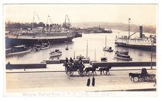 BC – VICTORIA, Inner Harbour and Causeway from the Empress Hotel, Trio c.1914 RP West Coast Canada, Victoria Vancouver Island, Victoria B, Emily Carr, The Empress, Boat Plans, Islands, Coastal, Ships
