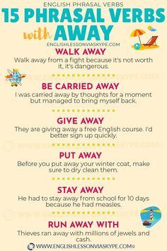 Here you will learn 15 phrasal verbs with away with meanings and examples. Fire away, turn away, give away English. Advanced English Vocabulary, Learn English Grammar, English Writing Skills, English Idioms, English Vocabulary Words, English Language Learning, English Phrases, Learn English Words, English Study