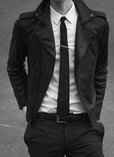Vintage style Leather Jacket, White dress shirt, black skinny tie.