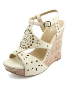 e1615c8eeada Studded Laser-Cut Platform Wedge Sandals by Charlotte Russe - Stone
