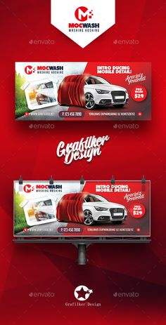 Car Wash Billboard Template PSD, InDesign INDD