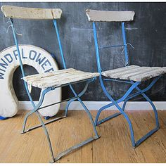 folding french bistro chairs for hosting; but maybe natural wood colors.. or maybe fun colors like those...
