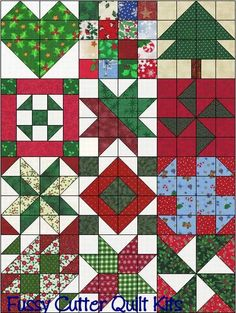 Christmas Scrappy Fabrics Easy Patchwork Pre-Cut Sampler Quilt Blocks Top Kit Squares