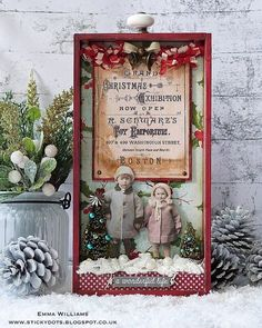Grand Christmas Exhibition created by Emma Williams for Tim Holtz Holiday Inspiration Series 2017 Noel Christmas, Christmas Projects, All Things Christmas, Handmade Christmas, Holiday Crafts, Vintage Christmas, Christmas Ornaments, Christmas Quotes, Christmas Paper