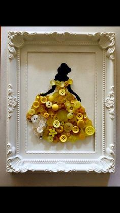 Belle Disney princess framed button art