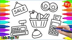How to Draw Set for Shop - Coloring Book:Cash Register,Basket,Fruit,Donu...