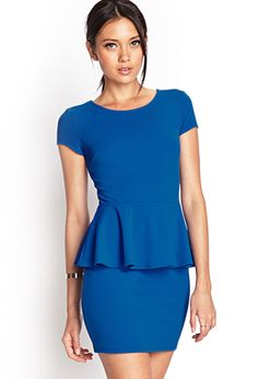 Shared Via JustSales: Final SaleThis textured knit peplum dress features short sleeves and a scoop back. Elasticized polyester, full length, chest, waist, sleeve lengthMeasured from SmallMachine wash coldUSA Model Info: Height: Nice Dresses, Short Dresses, Fashion Forever, Feminine Style, Forever 21 Dresses, Peplum Dress, Cool Outfits, My Style, Forever21