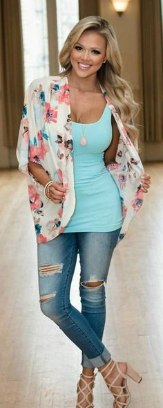 #summer #outfits The Perfect Colorful Floral Kimono Ivory/Pink