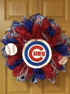 Chicago cubs wreath by on etsy crafts игры, спорт. Baseball Wreaths, Sports Wreaths, Baseball Crafts, Chicago Cubs Pictures, Chicago Cubs Fans, Christmas Crafts, Christmas Decorations, Diy Wreath, Wreath Ideas