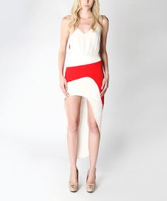Look at this Stella & Jamie Red & Off-White Maggio Skirt on #zulily today!