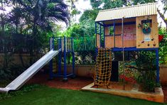 This was a treehouse we designed for kids of a household in their parent's backyard. The entire setup consists of: Outdoor Fitness Equipment, No Equipment Workout, Climbing Wall, Rock Climbing, Children's Playground Equipment, Ropes Course, Cargo Net, Outdoor Workouts, Treehouse