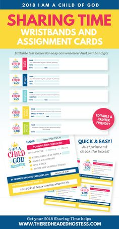 "2018 Primary Theme ""I Am A Child of God"" - Sharing Time Assignment Wristbands and Sharing Time Assignment Cards"