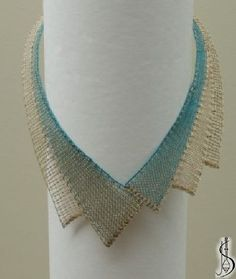 Necklace No. 10445c  		   Blue and beige silk, golden metallic yarn. Price: € 40 ............................  Protected by copyright!