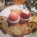 soft boiled eggs w bread and coffee w soymilk at @lepainquotidien