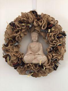 A personal favorite from my Etsy shop https://www.etsy.com/listing/534160351/burlap-buddha-wreath-batik-ribbon-ruffle