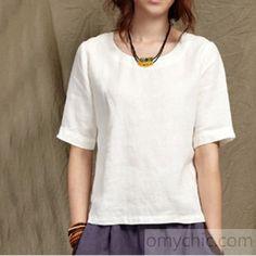 Half sleeve women summer linen shirt linen blouse top oversize