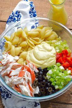 Summer Salads To Blow Your Taste Away Crab Pasta Salad Save Print This Crab P… - crab recipes Crab Pasta Salad, Seafood Salad, Seafood Pasta, Cold Pasta Salads, Noodle Salad, Crab Salad Recipe With Noodles, Salads With Meat, Shrimp And Crab Salad, Crab Meat Salad