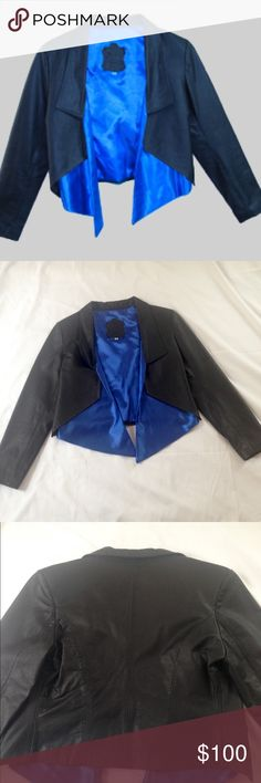 Women's Leather Jacket Custome Made Leather Jacket. 100% genuine leather.  Size small. The nice blue on the front makes this jacket stands out! Perfect for a night out very classy. Jackets & Coats Blazers