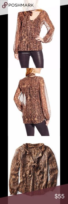Jessica Simpson Blouse When it comes to the style game you never tie. This Jessica Simpson multi tonal brown print top with a bow detail ensure you come out on top. Pair with leather pants and a red lip for an edgy look.  Long banded sleeves V-neckline with bow detail Button front Banded hem Multi tonal brown abstract print 100% polyester Machine washable Jessica Simpson Tops Blouses