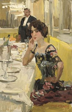 Table au Restaurant Le Perroquet, Paris (bet 1905-23) by Isaac Israels (1865-1934), Dutch Impressionist (Wikipedia)